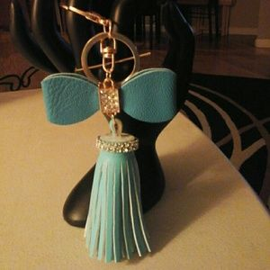 NEW LEATHER TASSEL WITH BOW KEYCHAIN